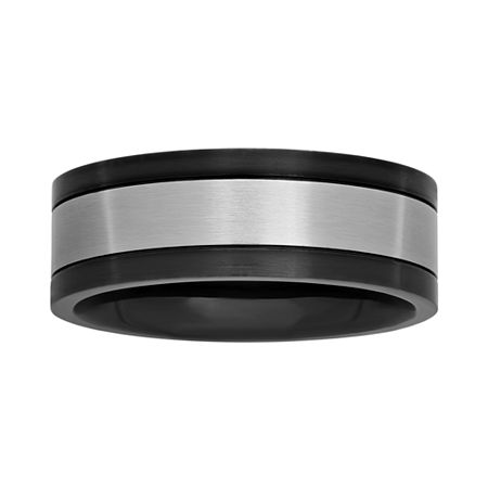 Mens Stainless Steel and Black Ion-Plated 8mm Wedding Band, 10 1/2 , Multiple Colors