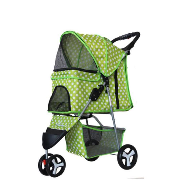 Pet Supplies Three Wheeles Folding Pet Cart Cat Dog Outdoor Travel Stroller Easy To Carry Cart