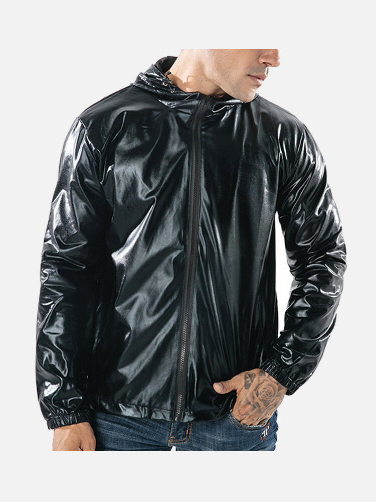 Mens Fashion Reflective Drawstring Zipper Design Solid Color Casual Hooded Jacket