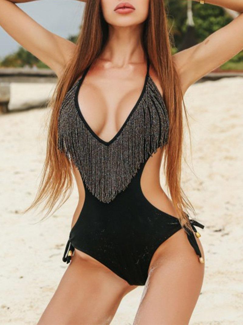 Ericdress Tassel Plain One Piece Swimwear