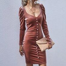 Velvet Square Neck Leg-of-mutton Sleeve Bodycon Dress
