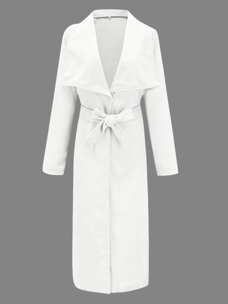 Milanoo Abrigos de abrigo para mujer Abrigo de invierno de manga larga con cuello vuelto gris y cordones