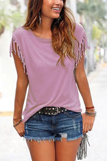 Yoins Purple Scoop Neck Tassel Sleeves T-shirt