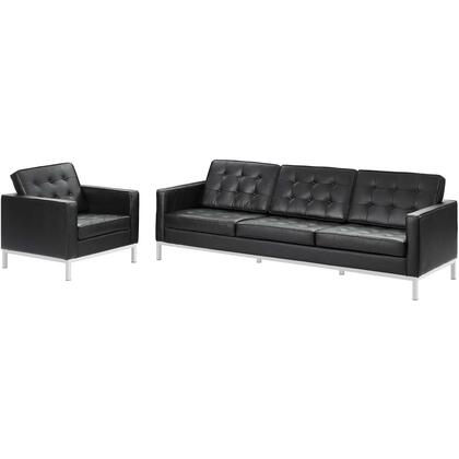 Loft EEI-3099-BLK-SET 2 Piece Leather Sofa and Armchair Set in