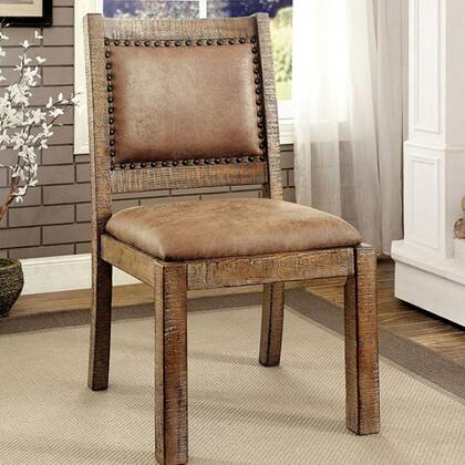 Colette Collection CM3829RA-SC-2PK Set of 2 Side Chair with Padded Fabric Back and Seat Finish in Rustic
