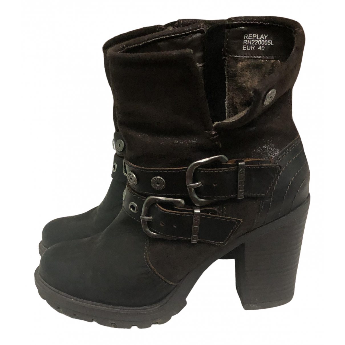 Replay \N Brown Leather Ankle boots for Women 40 EU