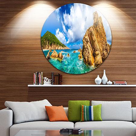 Design Art Costa Paradiso Close View Seashore Photo Circle Metal Wall Art, One Size , Blue