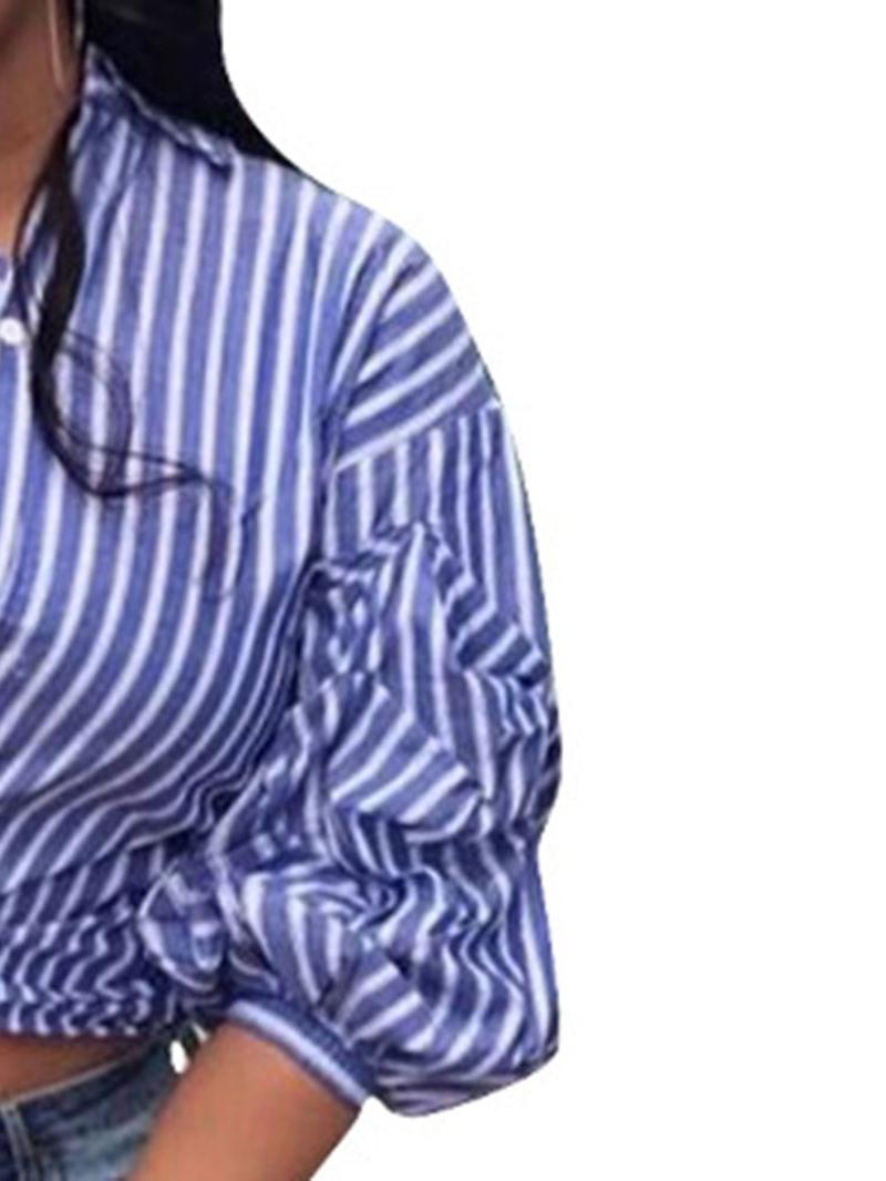 Ericdress Asymmetric Stripe Lace-Up Lantern Sleeve Blouse