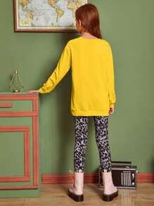 Pullover mit Herzen & Buchstaben Grafik & Leggings mit Leopard Muster Set