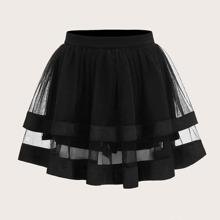 Satin Trim Layered Organza Skirt