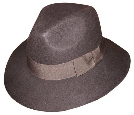 New Mens 1 Wool Fedora Trilby Mobster Hat Brown