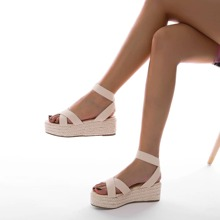 Open Toe Ankle Strap Espadrille Sandals