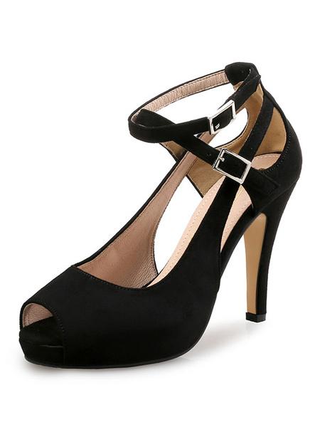 Milanoo Tacones altos de ante Peep Toe Cut Out Hebilla Detalle Bombas con correa en el tobillo Zapatos de mujer