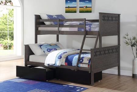9818-TFG_505-BK Twin/Full Bunk Bed in Graphite Finish With Dual Underbed Drawers In Low Sheen Black