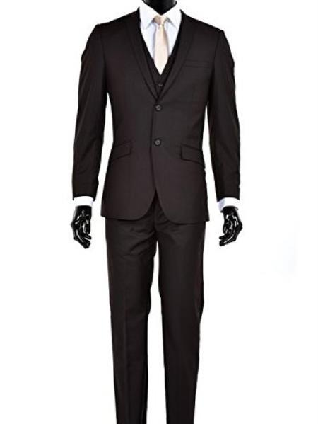 Men's Slim Fit 2 Button Single Breasted Notch Lapel Vested Suit Brown