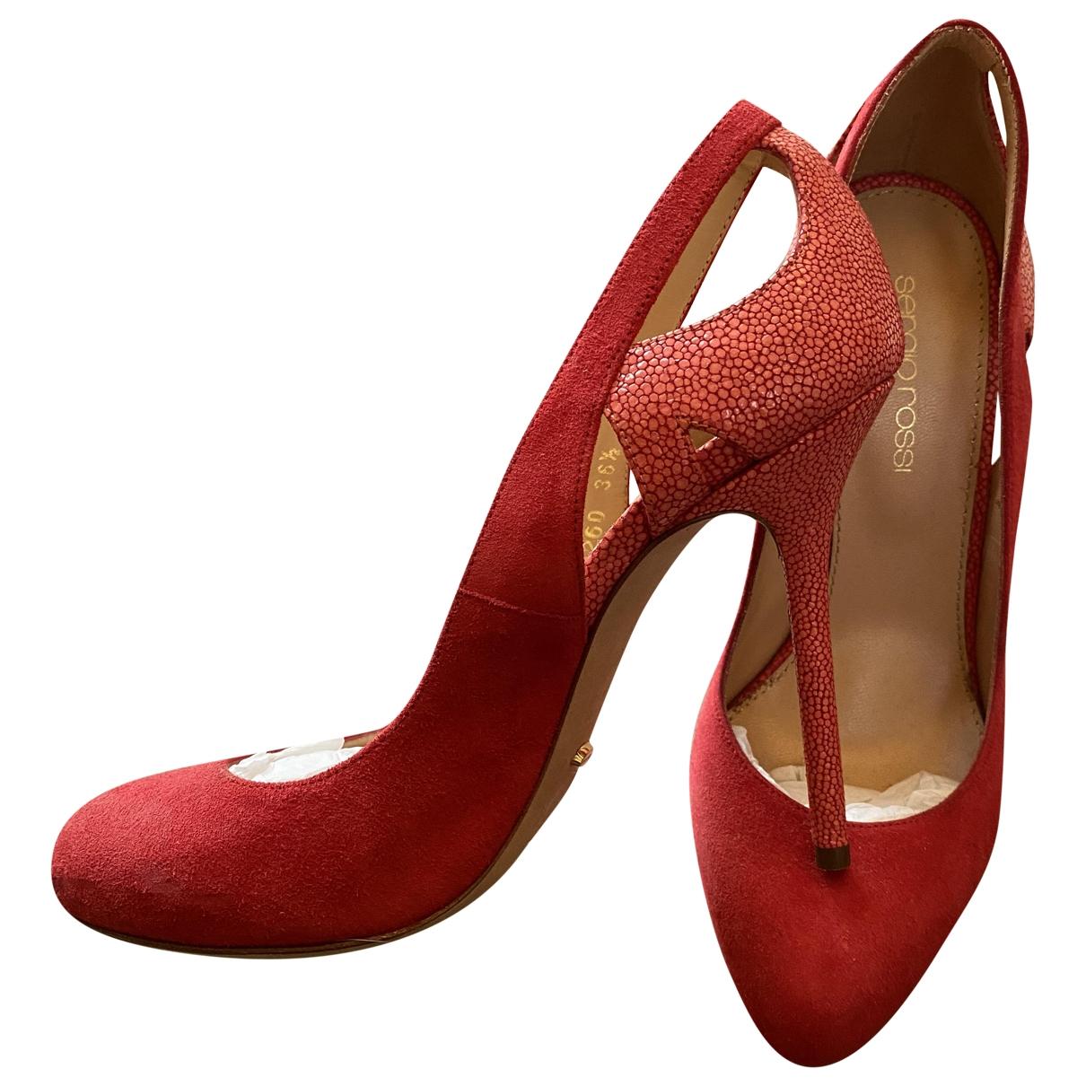 Sergio Rossi \N Red Suede Heels for Women 36.5 IT