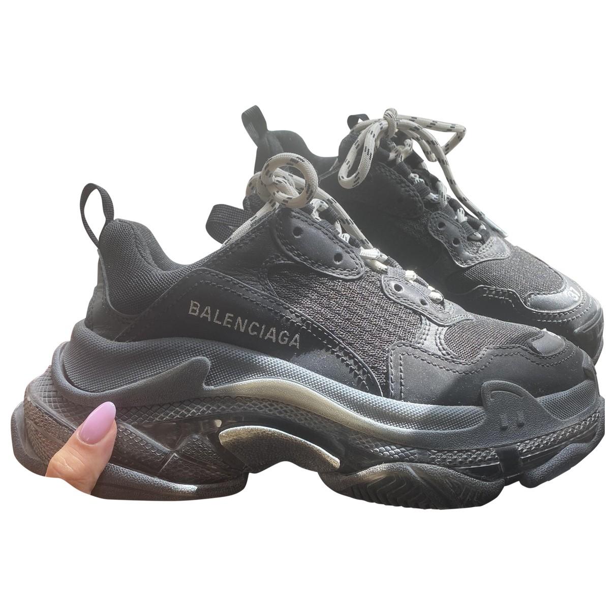 Balenciaga Triple S Sneakers in  Schwarz Leder
