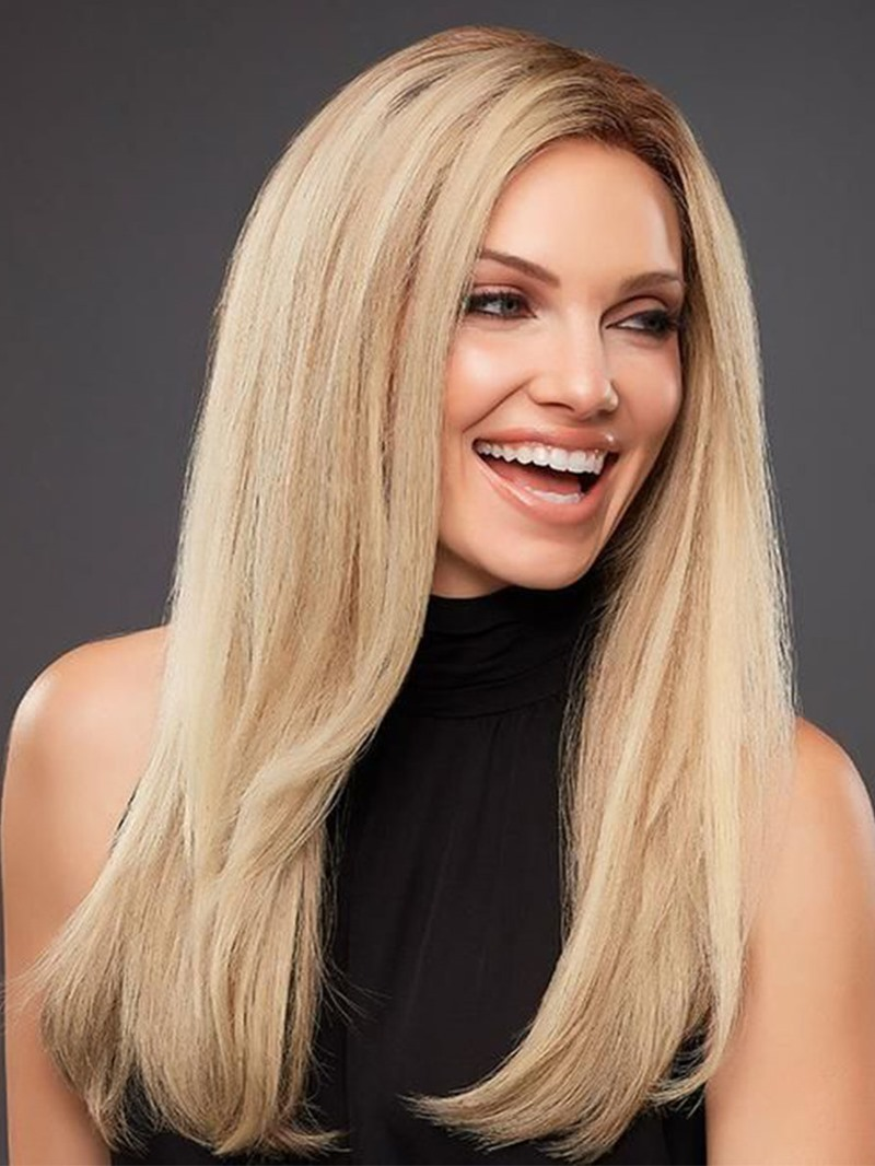 Ericdress Natural Looking Womens Side Part Straight Human Hair Wigs Long Length Lace Front Wigs 24Inch
