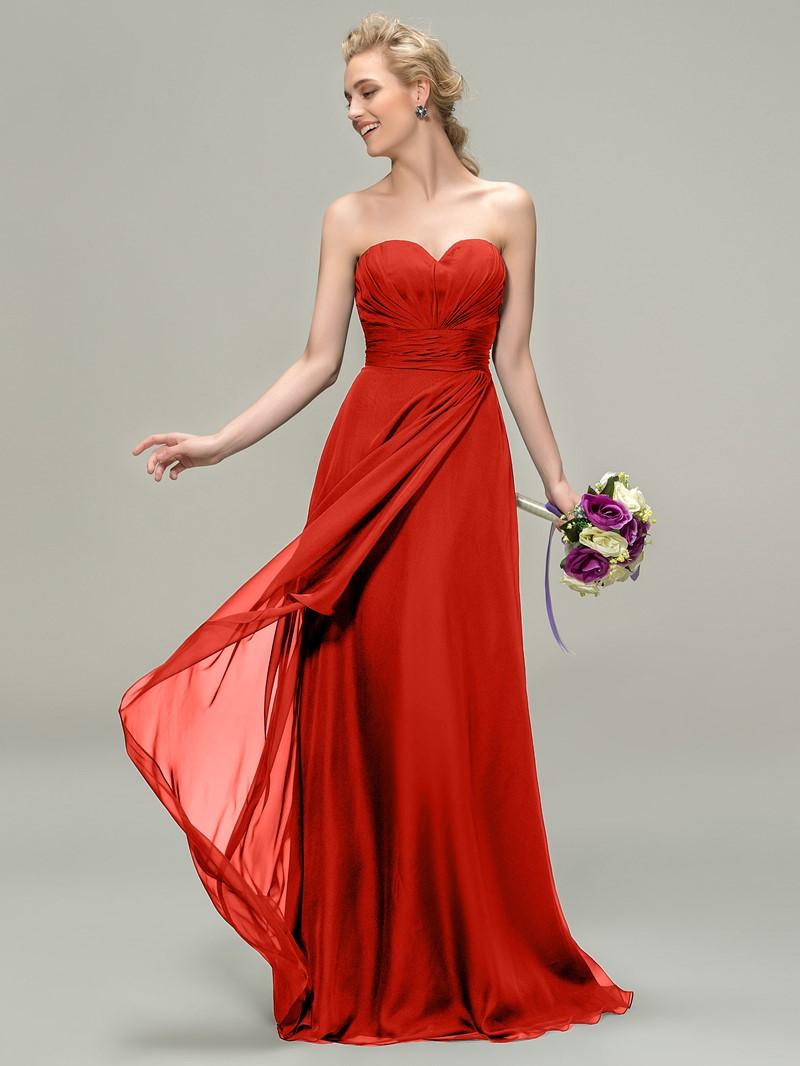 A-Line Sweetheart Zipper-Up Bridesmaid Dress