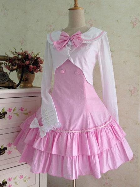 Milanoo Sailor Lolita Dress Bow Lace Up Two Piece Sailor Lolita Oufits With Ruffle