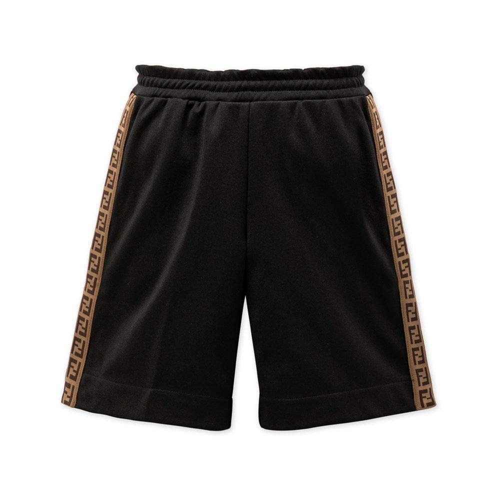 Fendi Side Logo Shorts Colour: BLACK, Size: 10 YEARS