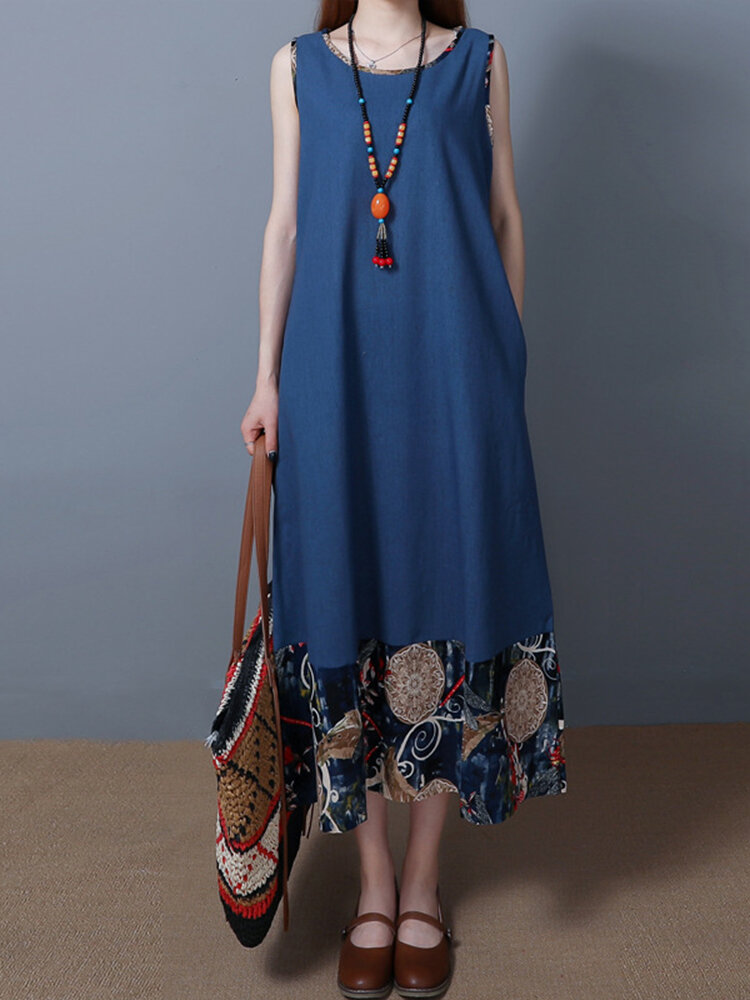 Print Patchwork Sleeveless O-neck Vintage Maxi Dresses