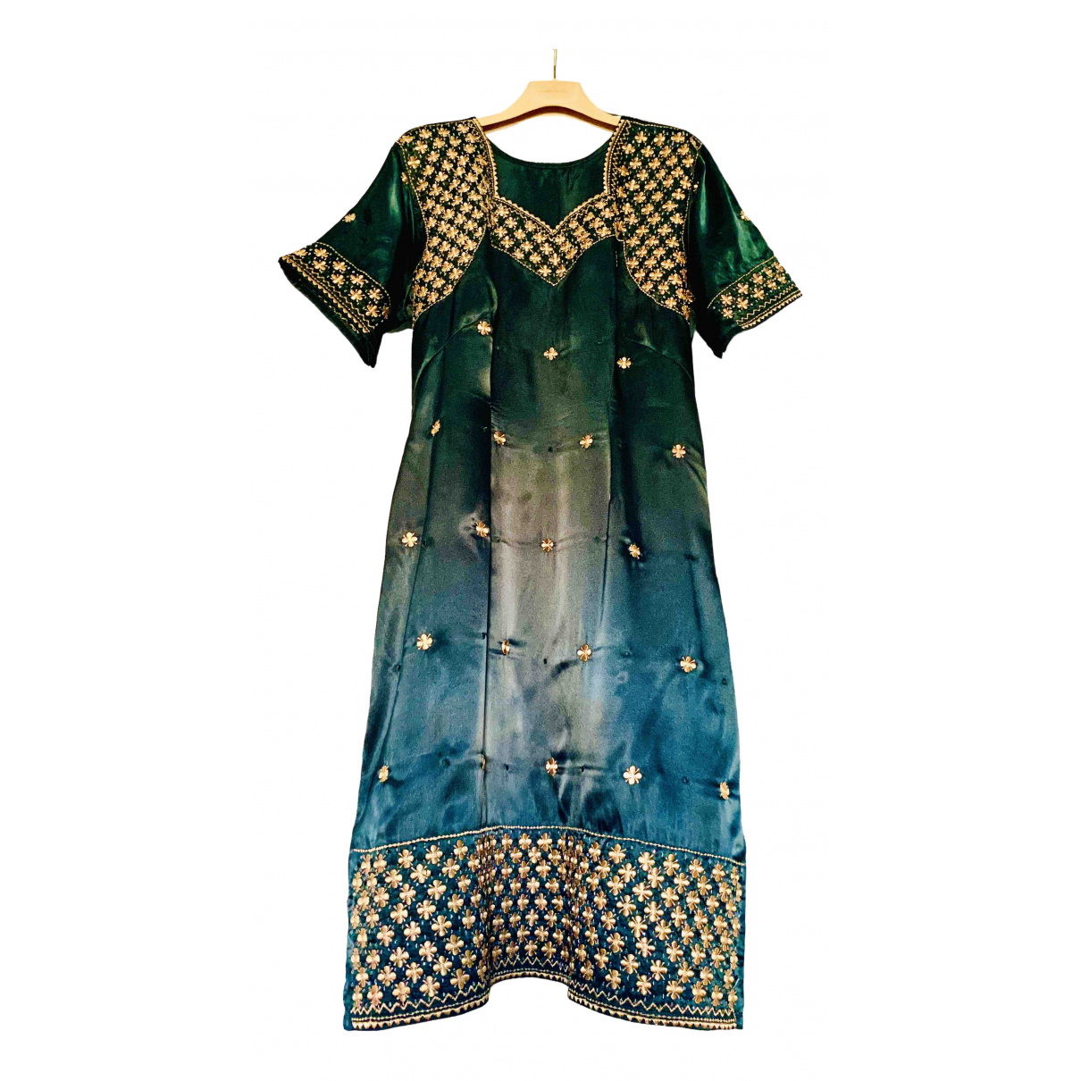 Non Signé / Unsigned Hippie Chic Green dress for Women M International