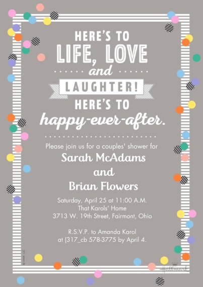 Wedding Shower Invitations 5x7 Cards, Standard Cardstock 85lb, Card & Stationery -Here's to Happy Ever After