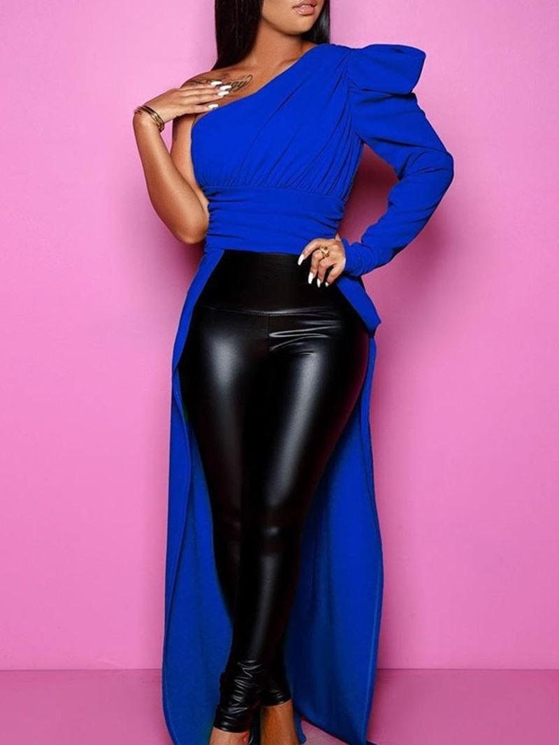 Ericdress Oblique Collar Asymmetric Plain Long Sleeve Womens Long Blouse
