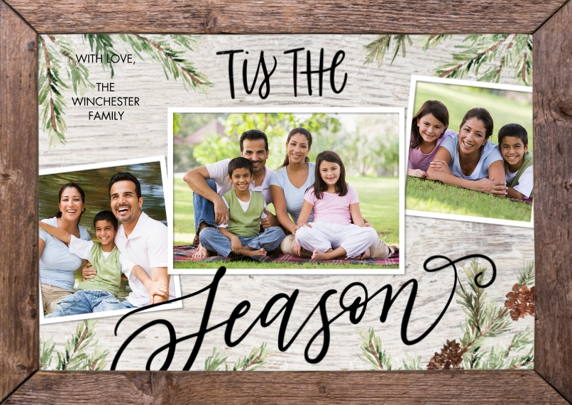 Christmas Photo Cards 5x7 Cards, Standard Cardstock 85lb, Card & Stationery -Christmas Tis the Season Frame by Tumbalina