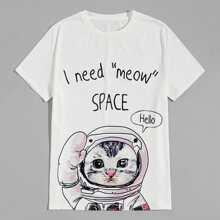 T-Shirt mit Karikatur Katze und Buchstaben Grafik