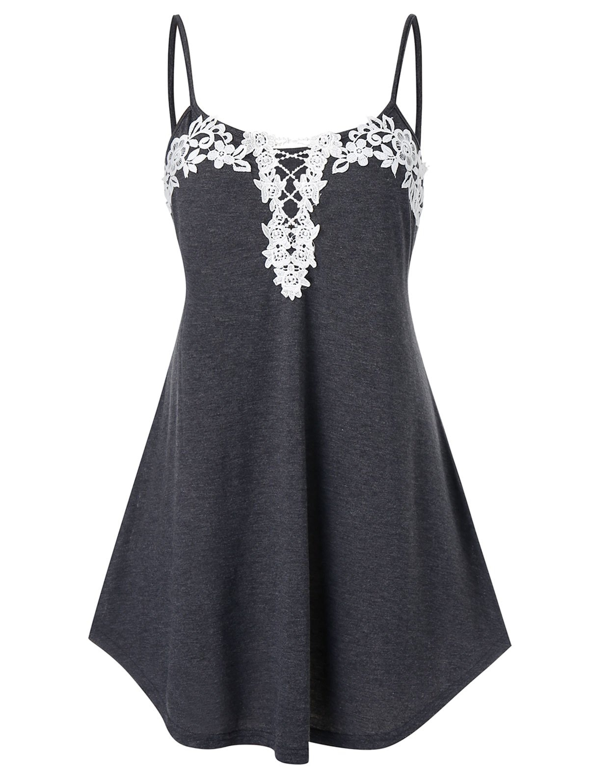 Plus Size Flower Lace Splicing Cami Tank Top