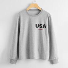 American Flag And Letter Print Sweatshirt