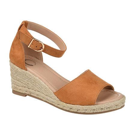 Journee Collection Womens Keana Wedge Sandals, 8 1/2 Medium, Brown