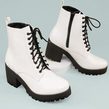 Faux Leather Lace-Up Block Heel Combat Boots