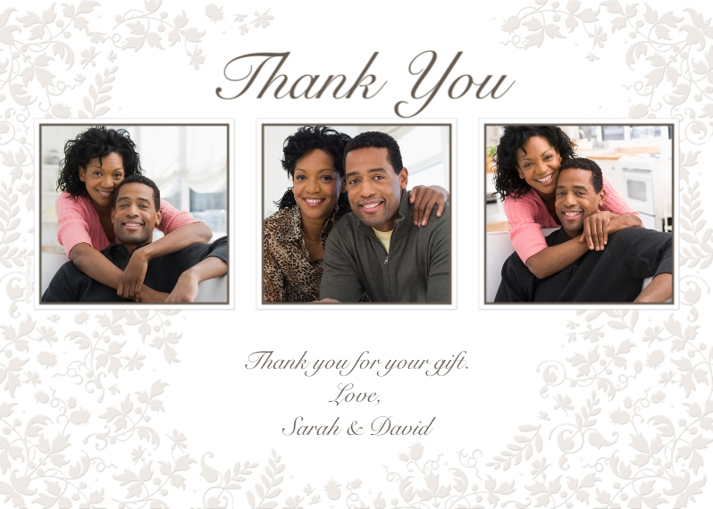 Thank You Cards 5x7 Folded Cards, Standard Cardstock 85lb, Card & Stationery -White Floral Thank You