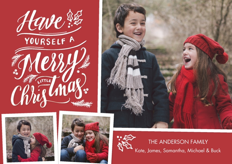 Christmas Photo Cards 5x7 Cards, Premium Cardstock 120lb with Scalloped Corners, Card & Stationery -Christmas Festive Lettering
