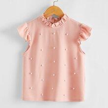 Pink Perlen  Einfarbig Suess Maedchen Blusen