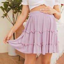 Maternity Shirred Waist Layered Frilled Trim Skirt
