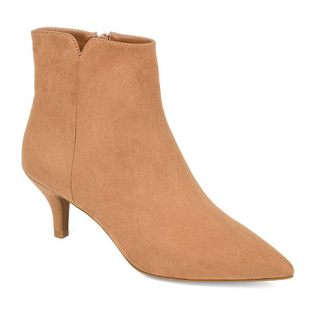 Journee Collection Womens Isobel Kitten Heel Booties, 6 Medium, Beige