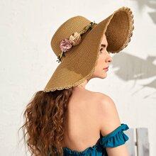 Sombrero de paja ribete en abanico con diseño de flor