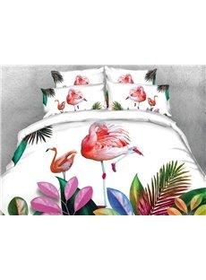 Vivilinen 3D Pink Flamingos and Tropical Plants Digital Printing Cotton 4-Piece Bedding Sets/Duvet Covers