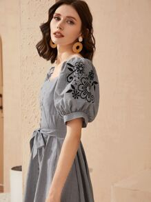 Button Front Belted Embroidered Puff Sleeve Striped Dress