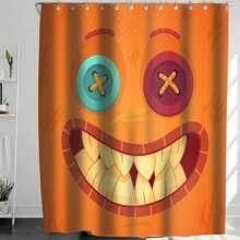 Duschvorhang mit Halloween Karikatur Grafik und 12 Haken