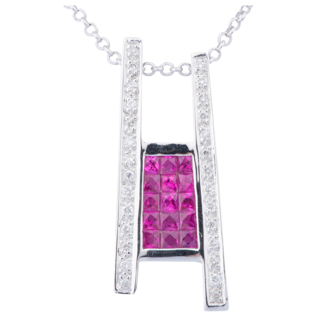 Non Signé / Unsigned Rubis Pink White gold necklace for Women \N