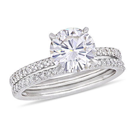 Womens 1/4 CT. T.W. Diamond and Moissanite 14K White Gold Bridal Set, 6 , No Color Family