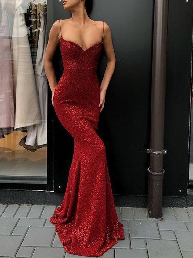 Trumpet/Mermaid Spaghetti Straps Sequins Floor-Length Formal Dress
