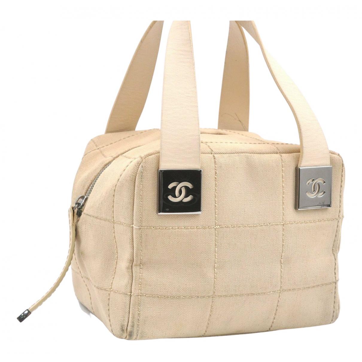 Chanel East West Chocolate Bar Beige Cloth handbag for Women N