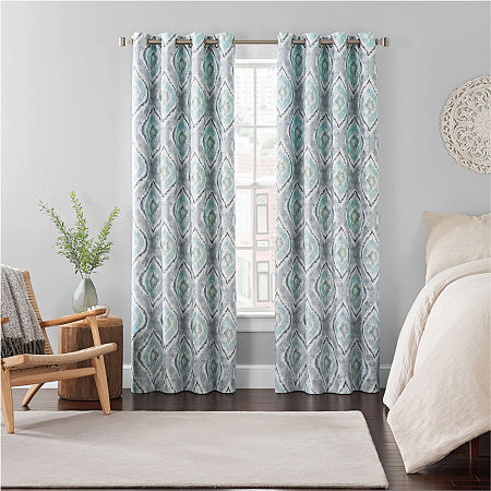 Eclipse Ambiance Ikat Draft Stopper Energy Saving 100% Blackout Grommet-Top Single Curtain Panel, One Size , Blue