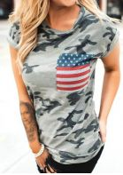 Camouflage Printed American Flag Pocket T-Shirt